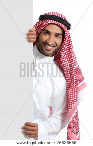 Arab Saudi Promoter Man Holding A Blank Sign
