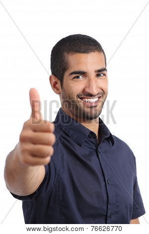 Positive Arab Man Gesturing Thumbs Up