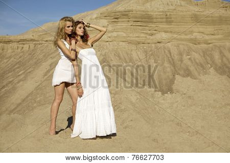 Two attractive young adult girls friends - blond and brunette sensuality woman over sand background