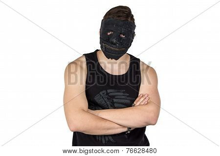 Image of the young man in black mask