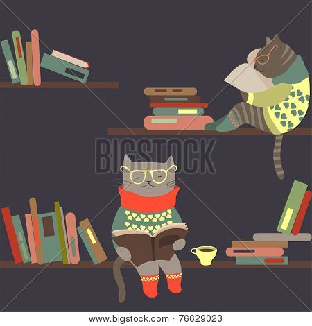 Cats reading books on bookshelves
