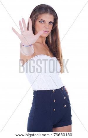 Woman Making Stop Signal