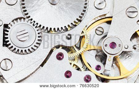Background From Steel Clockwork Of Retro Watch
