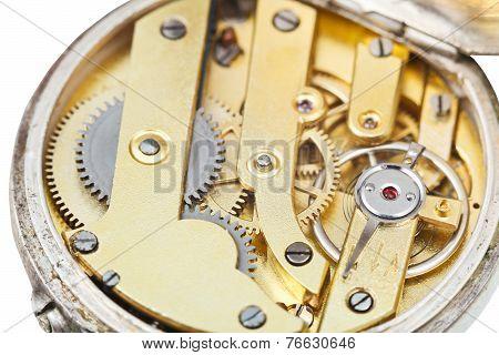 Round Brass Clockwork Of Retro Pocket Watch