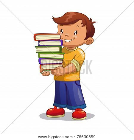 Cartoon boy with pile of books