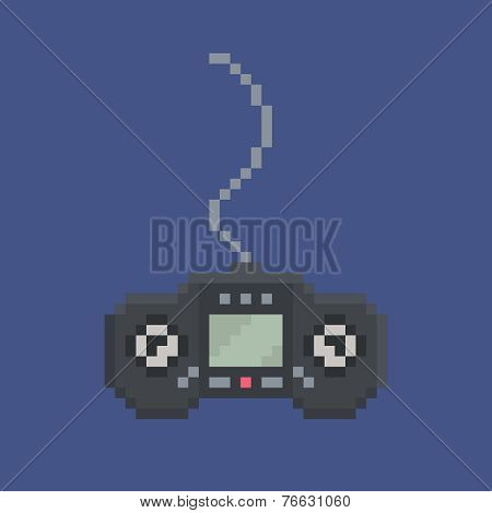 pixel art design item - simply drawn wired gamepad with screen