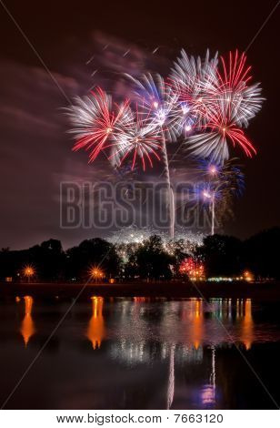 Huge Fireworks With Reflection In The Lake