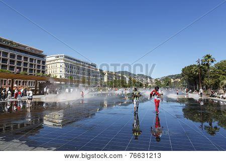 Fountain At Promenade Du Paillon, Nice
