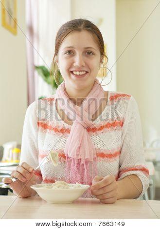 Girl  Eating Dumplings