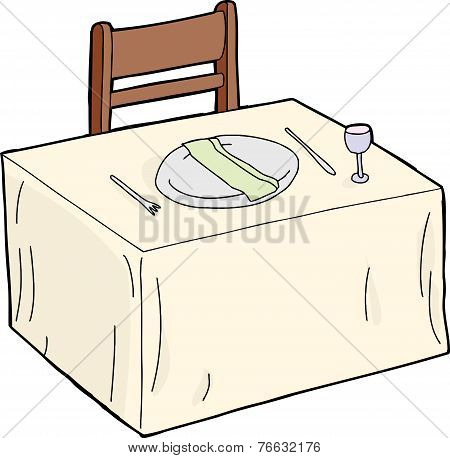 Table With Napkin In Plate