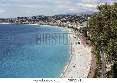 Sea Shoreline And Beaches In Nice