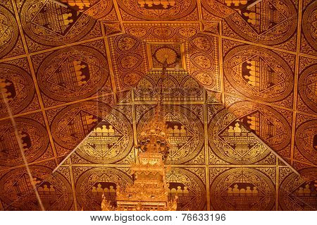 Myanmar Ceiling Art At Centre In The Main Hall Of Hpaung Daw U Pagoda.