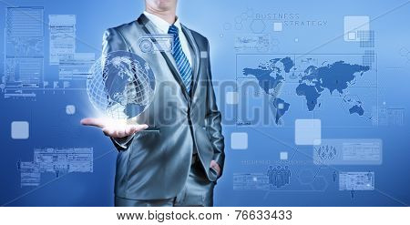 Business Man In Blue Grey Suit Working On Digital Virtual Screen, Business Concept Of Marketing Stra