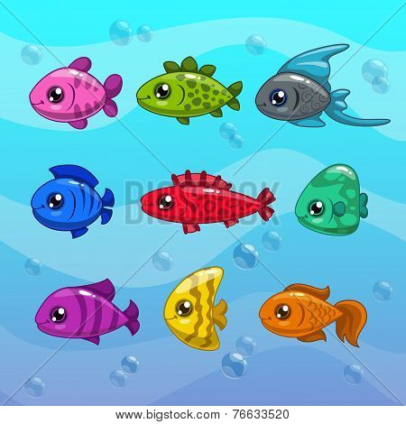 Set of cute cartoon vector fishes