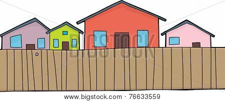 Houses And Fence Over White