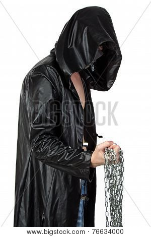Photo of young man in profil with the chain