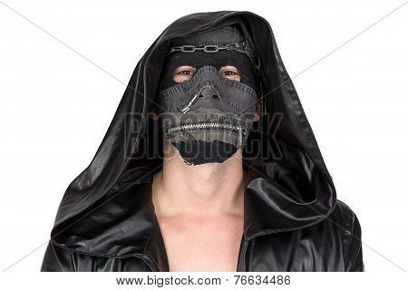 Photo of the man dressed in hooded cloak