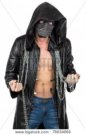 The man dressed in hooded cloak with chain