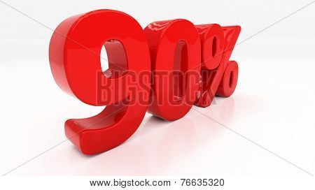 Ninety percent off. Discount 90.  Percentage. 3D illustration