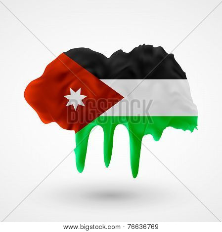 Flag of Jordan painted colors