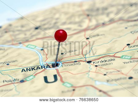Ankara pinned on a map of europe