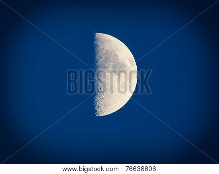 Retro Look First Quarter Moon