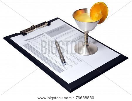 Silver Pen With Document