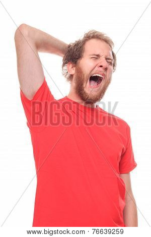 Morning Stretching And Yawning Of Young Bearded Man