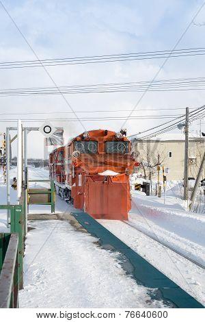Japanese Train On Snow Track