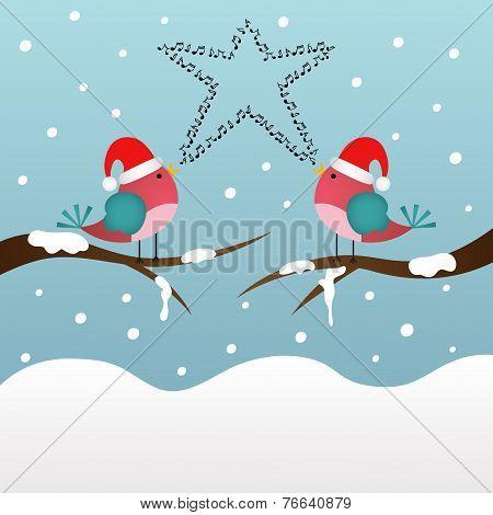 Singing Christmas birds