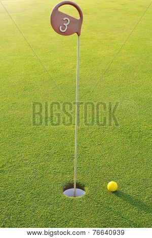 Golf Hole With Yellow Ball
