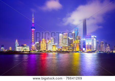 Shanghai, China city skyline of the Pudong Financial District.