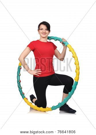 Beauty Woman With Hula Hoop