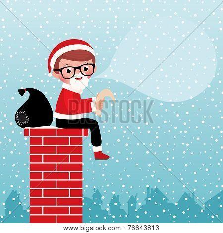Santa Claus Sitting On A Chimney