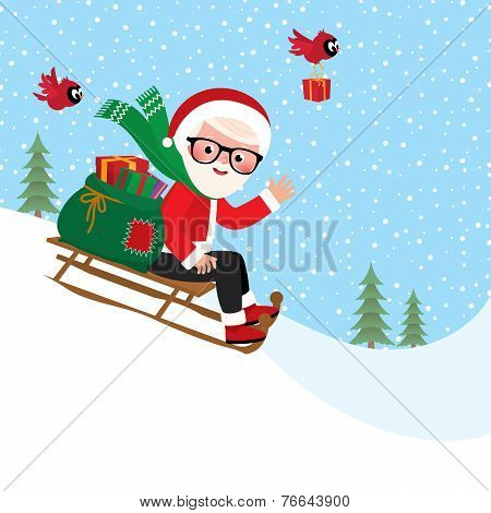 Santa Claus With A Bag Of Gifts On Sledge