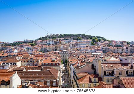 Lisbon, Portugal.- May 11: Old Town Lisbon on May 11, 2014. street view of typical houses in Lisbon, Portugal, Europe