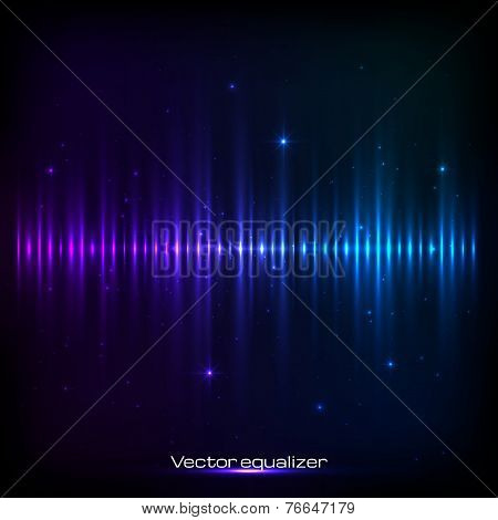 Dark blue shining vector equalizer