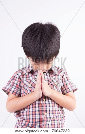 Little Boy Paying Respect Sawasdee