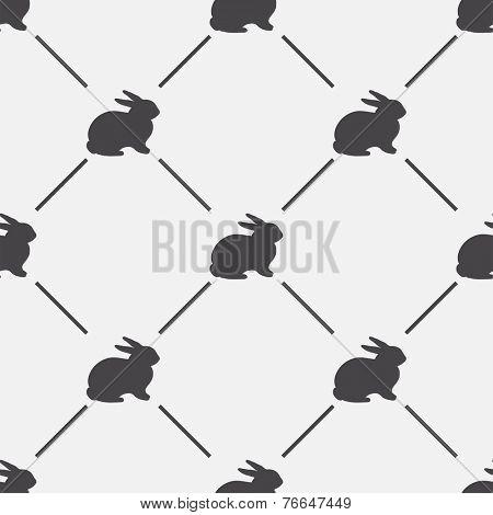 Animal background. Retro rabbit seamless pattern - vector illustration.