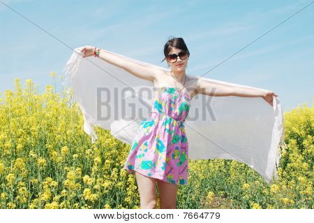 women on flower field