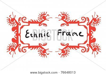 Red frame element with dragons or lizards, vector illustration