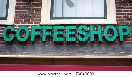 Coffeeshop signboard in Amsterdam, Netherlands
