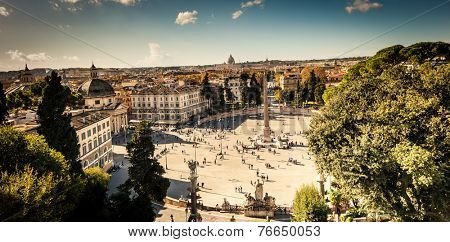 ROME, ITALY - NOVEMBER 16, 2014: Piazza del Popolo is a large urban square in Rome, Italy.