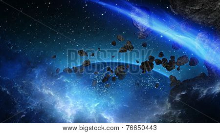 Planet Earth with asteroid in universe or space, Globe and galaxy in a nebula cloud with meteors.