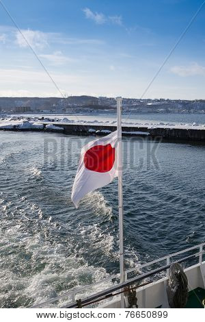 Flag Of Japan, In The Winter Over The Sea