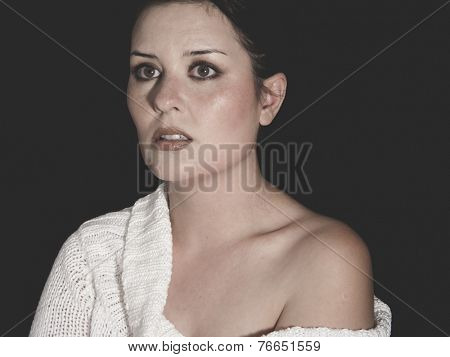 vulnerable woman concept of psychological abuse, beautiful young brunette