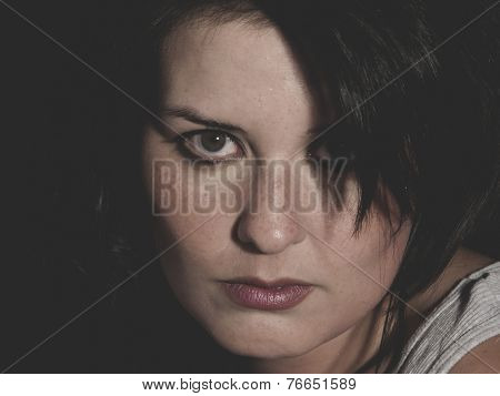 despair, vulnerable woman concept of psychological abuse, beautiful young brunette
