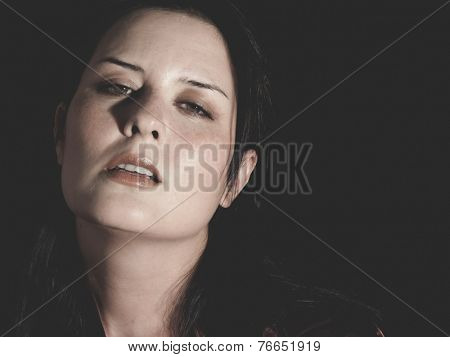 pain and fear, young brunette abused by her husband, concept psychological damage