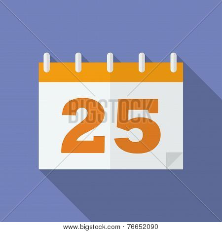 Icon Of Christmas Day Calendar. 25 December. Flat Style