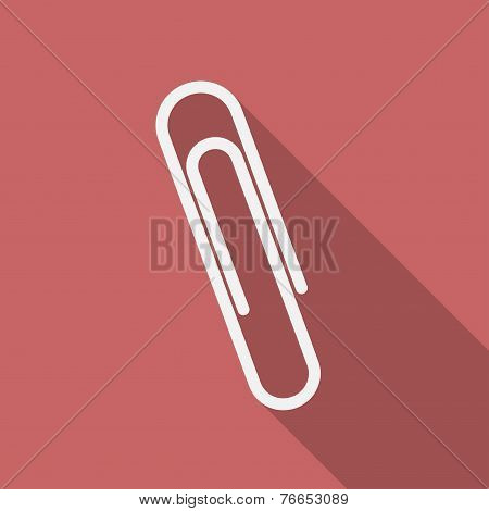 Icon Of Paper Clip. Flat Design